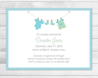 Blue Clothesline Printable Baby Shower Invitation