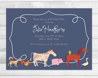 Blue Farm Animals Printable Birthday Party Invitation