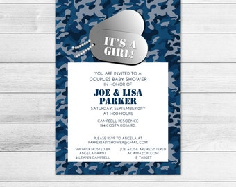 Military Girl Baby Shower Invitation, Blue Camouflage, Digital Printable