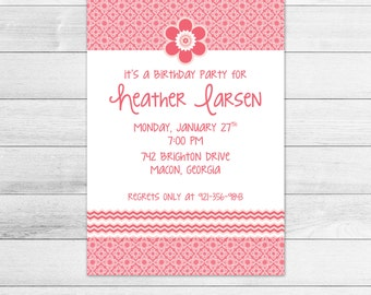 Flower Power Printable Birthday Party Invitation