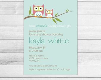 Girl Owl Printable Baby Shower Invitation