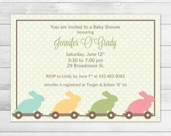 Green Bunny Printable Baby Shower Invitation