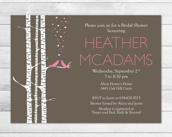 Love Birds Bridal Shower Invitation Pink & Brown