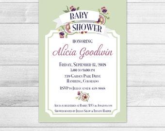 Green Botanical Banner Baby Shower Invitation, Digital Invite File