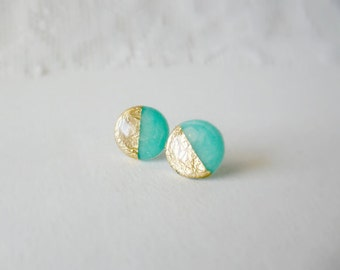 Mint gold stud earrings- Gold dipped mint posts- Delicate feminine jewelry-  Gifts under 20