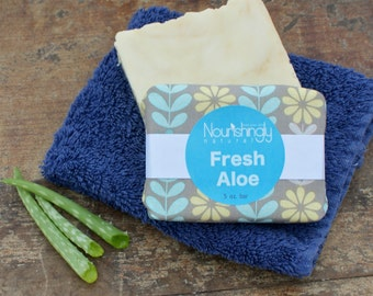 Natural Aloe Vera Soap for Sensitive Skin, Unscented herbal handmade vegan bar soap, Organic Aloe Vera Bar Soap, Palm Oil Free Soap Dye Free