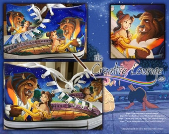 Custom Painted Shoes, Beauty and the Beast, Fan Made Shoes, Hand Painted, Canvas Hi Tops, Personalised Gifts, Customisable Sneakers