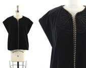 black velvet vest / vintage embroidered top M/L