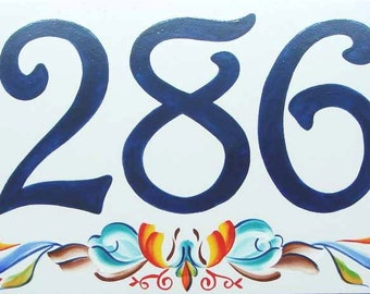 Rosemaling house number plaque. Decorative folk art outdoor sign,  ceramic house numbers, outdoor address plaque, Norwegian house numbers