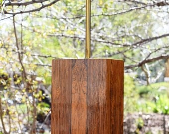Mid Century Modern Rectangular Wood Column Lamp