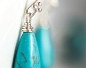 Teal Turquoise Earrings Long Earrings Teal Silver Earrings Teal Drop Earrings Teal Silver Dangle Turquoise  Earrings Summer earrings