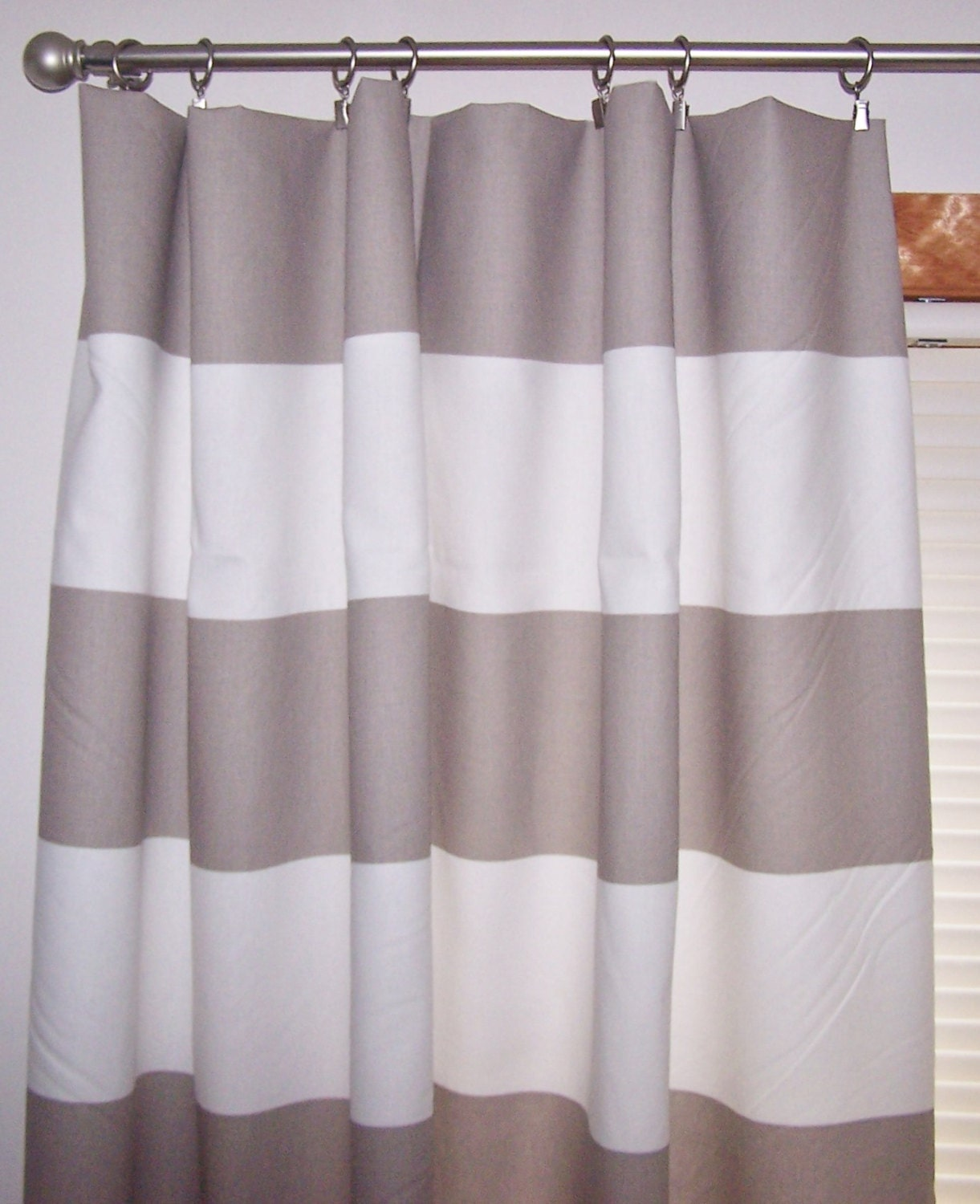 Ecru And White Extra Wide Stripe Curtains Beige Curtains