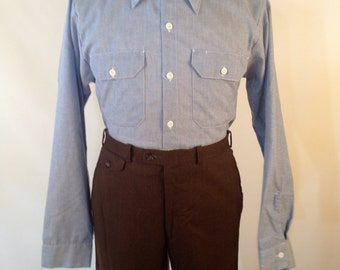 Vintage 70s Chambray Shirt Made by Big Ben Size Medium