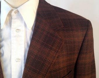 Vintage 60s/70s Brown Plaid Blazer By Hart Schaffner & Marx Size 42