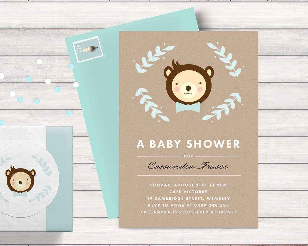 teddy bear baby shower invitation with kraft by bonjourberry