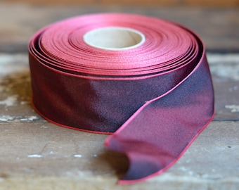 burgundy taffeta wired ribbon