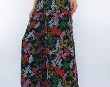 Vintage 70s High-Waist Chiffon Floral Print Wide Leg Pants