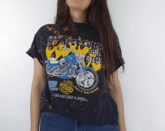 Distressed Bleach Splatter Sturgis Motorcycle Tee