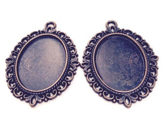 4 Antique Copper Cabochon Settings Pendants Oval Cameo frame 39mmx29mm fits 25x18 mm