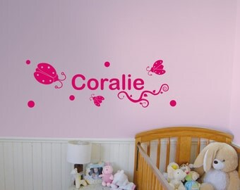 Custom wall sticker with the name of the child wall decoration ladybug theme with round and ornaments