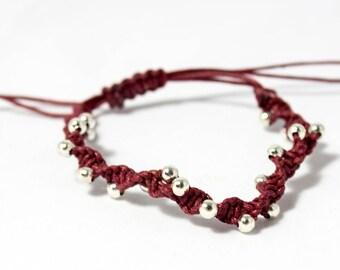 Beaded bracelet | Macrame Bracelet | Silver plated bead bracelet | Stackable bracelet | Gift bracelet | Layered bracelet | Summer gift boho