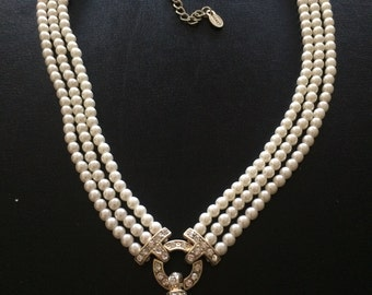 Vintage Signed Monet Multi Strand Faux Pearls Necklace -