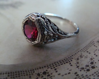Sweet Sterling Filigree Ruby Ring Size 6 3/4