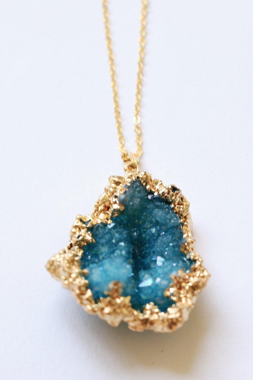 Raw Crystal Necklace Druzy Necklace Raw Stone