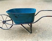 Blue Metal Wheelbarrow Miniature Fairy Garden Container - Galvanized Miniature Garden Indoor Outdoor Planter