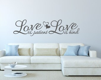 Wall Decal Love Is Patient Wall Decal Love Is Kind Vinyl Wall Decal    Corinthians 13