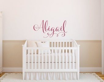 Wall Decal - Swirly Name Wall Decal - Baby Girl Nursery Wall Decal - Girls Name Wall Decal - Vinyl Wall Decal - Vinyl Lettering