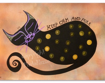 Keep calm and purr,cat decor on paper,8.26 x 5.82 inches,Acrylic paint & watercolors,polka dots