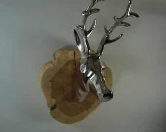 Deer Mount, Deer Head Wall Mount, Metal Deer Mount w/ Antlers, Cedar Wood Plaque, Handmade, Holiday Decor, A Model Free Priority Shipping