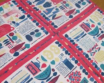Rare swedish tablecloth 50's 60's mid-century modern summer recipes