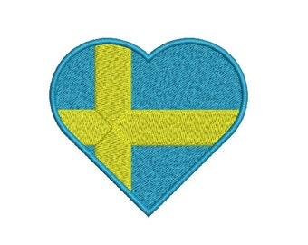 Machine Embroidery Design Instant Download - Heart Sweden Flag