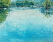 Liverpool Bend, Oil on 4x4 canvas panel by Sean Bodley, Plein Air Oil Landscape Painting, Pennsylvania Susquehanna River Art Summer Painting