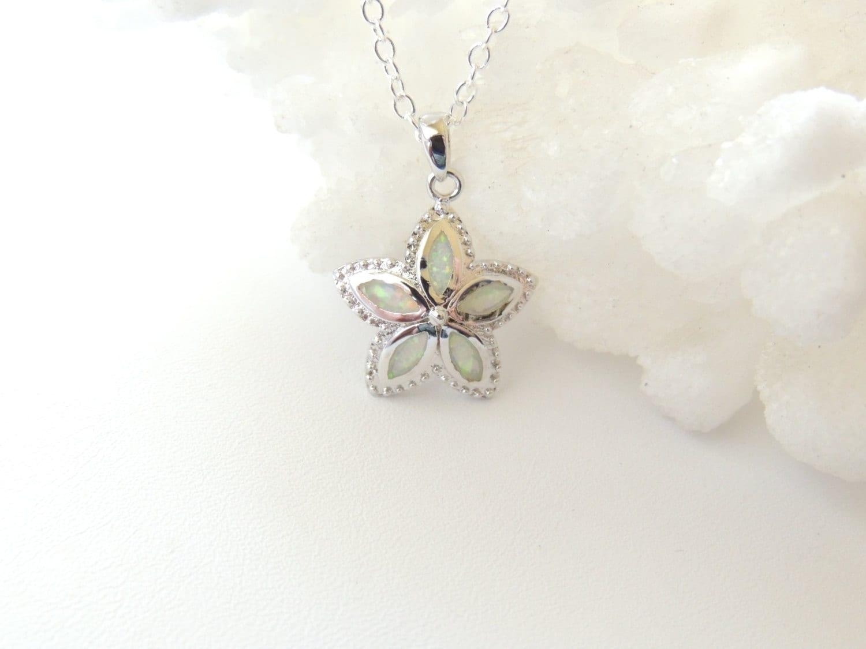 White Fire Opal Flower Necklace Plumeria Flower Necklace