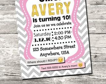 Emoji Birthday Party Invitation Pink with Gray Chevron with free Thank You Digital Printable