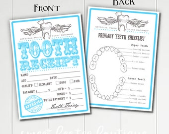 Boys Tooth Fairy Receipts Blue - Printable - Digital File - Baby Kids Children - Teeth Dentist - Momento