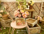 Miniature bouquet of five pink peonies handmade in paper and two buds in a metal box, Accessory for a dollhouse in 1:12th scale