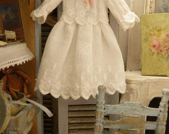 Miniature dress in French antique cotton poplin, White, Doll fashion accessory for a collectible dollhouse in 1:12th scale