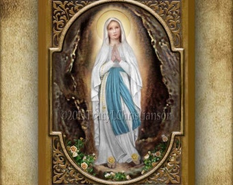Our Lady of Lourdes Wood Plaque and Holy Card GIFT SET, Patron of Aviators #3038