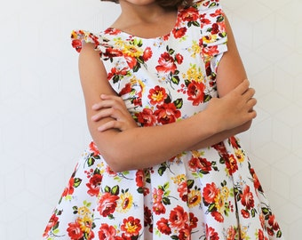 Rose Posey Floral Dress with Circular Skirt and V-Neck Back