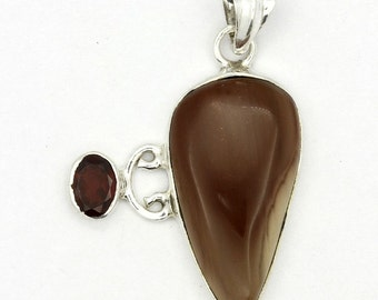 Marvelous! New Brown Imperial Jasper,Garnet 925 Sterling Silver Pendant Jewelry A0499