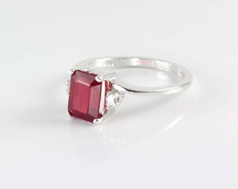 Genuine Pigeon Blood Ruby and Sapphires Ring Sterling Silver /  Ruby Silver Ring Emerald-Cut