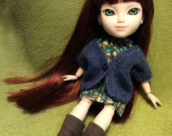 Shetland Wool Cardigan for Makies (Denim Blue) MK-105