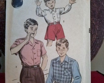 Advance 4188 Pattern Boys Shirts Long Sleeve or Short Sleeve Size 8 to 10 CUT