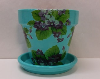Handmade Decoupage Terra Cotta Clay Flower Pot Vintage Nouveau Violets