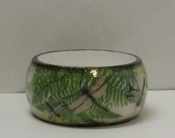 Handmade Decoupage Wood Bangle Bracelet-Dragonflies