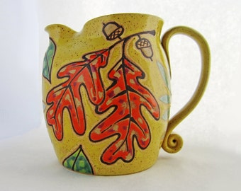On Sale Oak Leaf Pitcher, pottery pitcher, great housewarming gift, autumn decor, holds 40 oz/5 cups and is microwave and dishwasher safe